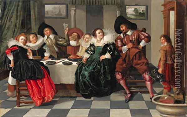 Elegant company at table in an interior Oil Painting - Dirck Hals