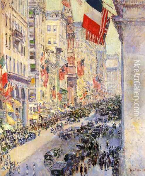 Up the Avenue from Thirty-Fourth Street, 1917 Oil Painting - Frederick Childe Hassam