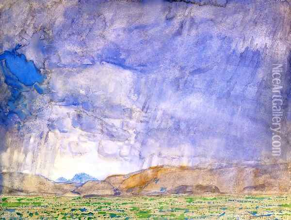 Thunderstorm on the Oregon Trail Oil Painting - Frederick Childe Hassam
