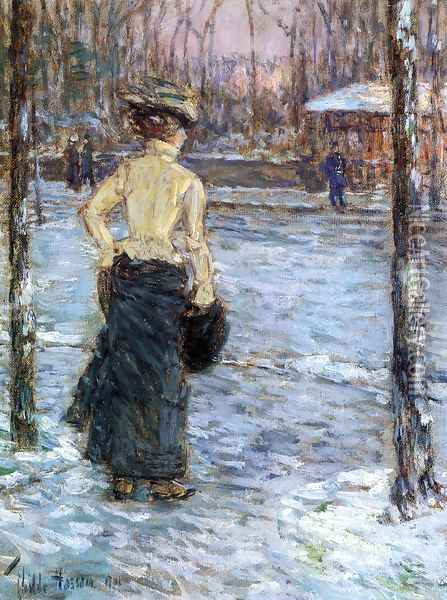 Winter, Central Park Oil Painting - Frederick Childe Hassam