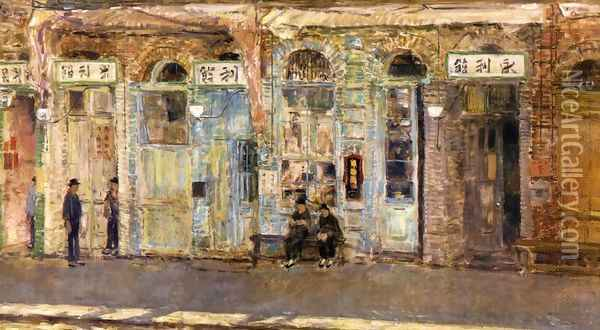 The Chinese Merchants Oil Painting - Frederick Childe Hassam