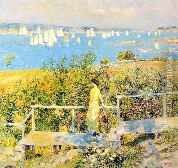 Yachts, Gloucester Harbor Oil Painting - Frederick Childe Hassam