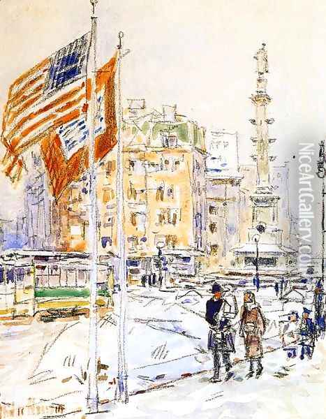 Flags, Columbus Circle Oil Painting - Frederick Childe Hassam