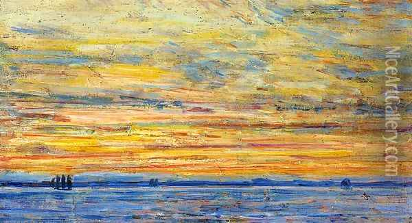 Evening Oil Painting - Frederick Childe Hassam