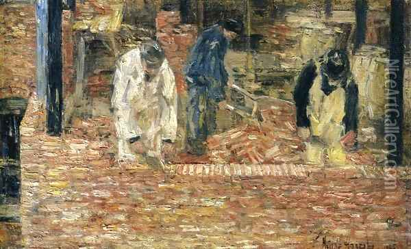 The Bricklayers Oil Painting - Frederick Childe Hassam