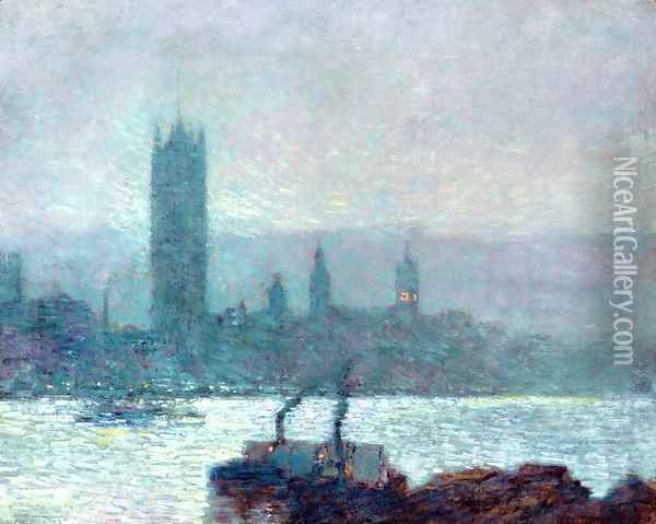 Houses of Parliament, Early Evening Oil Painting - Frederick Childe Hassam