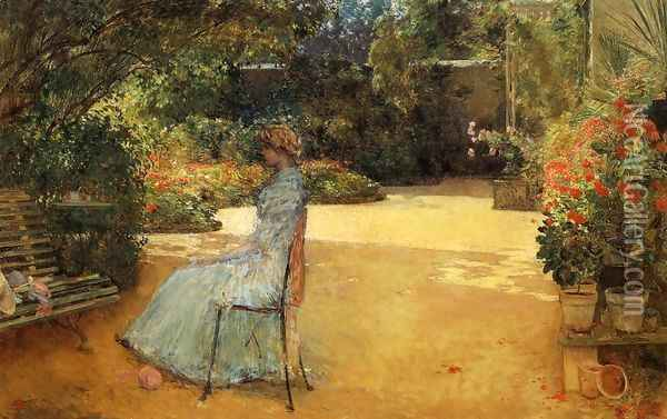 The Artist's Wife in a Garden, Villiers-le-Bel Oil Painting - Frederick Childe Hassam