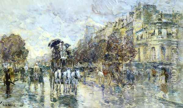 Les Grands Boulevards, Paris Oil Painting - Frederick Childe Hassam