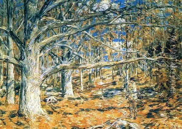 Connecticut Hunting Scene Oil Painting - Frederick Childe Hassam