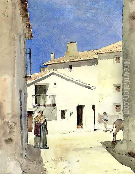 A Street in Denia Spain Oil Painting - Frederick Childe Hassam