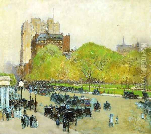 Spring Morning in the Heart of the City (also known as Madison Square, New York) Oil Painting - Frederick Childe Hassam