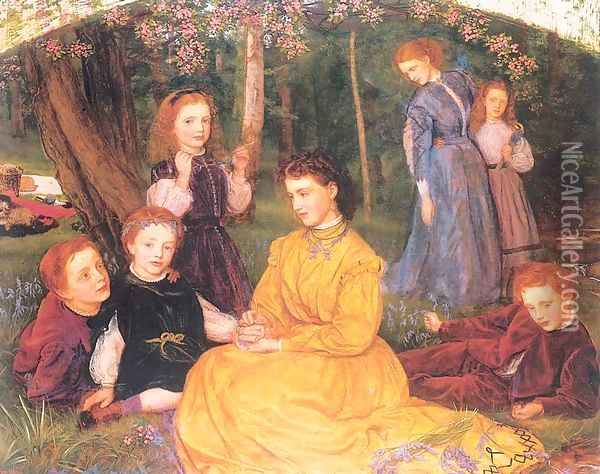 A Birthday Picnic 1866-67 Oil Painting - Arthur Hughes