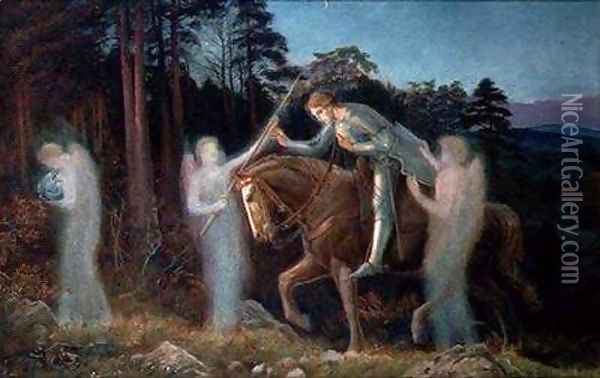 Sir Galahad I Oil Painting - Arthur Hughes