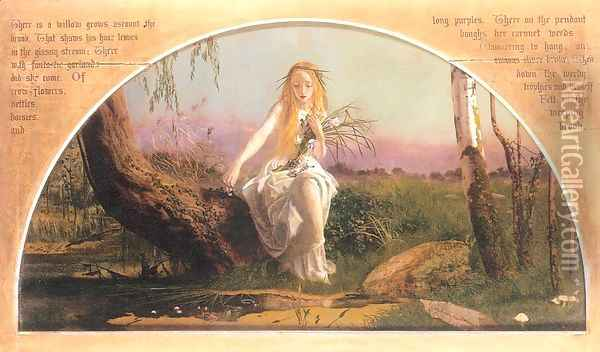Ophelia 1852, retouched 1857-58 Oil Painting - Arthur Hughes