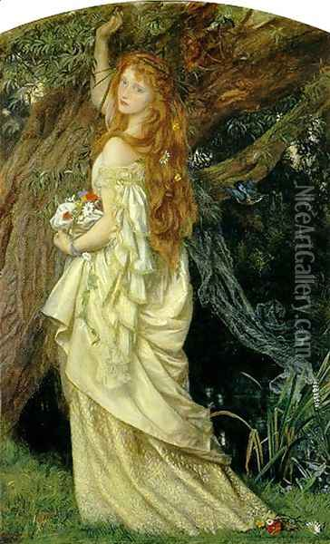 Ophelia ('And will he not come again?') Oil Painting - Arthur Hughes