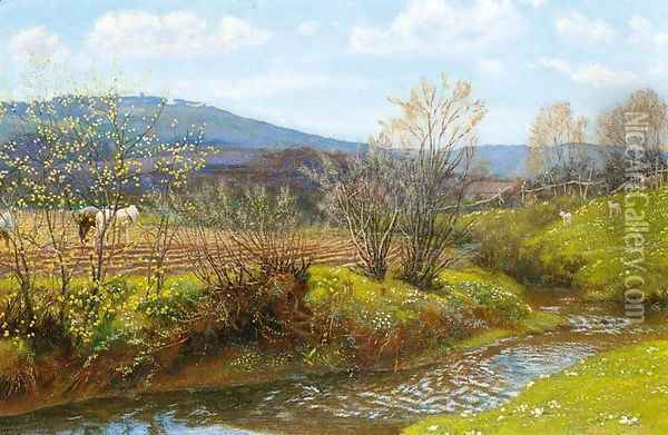A Spring Afternoon Oil Painting - Arthur Hughes
