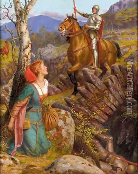 Overthrowing the Rusty Knight 1908 Oil Painting - Arthur Hughes