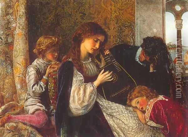 A Music Party Oil Painting - Arthur Hughes