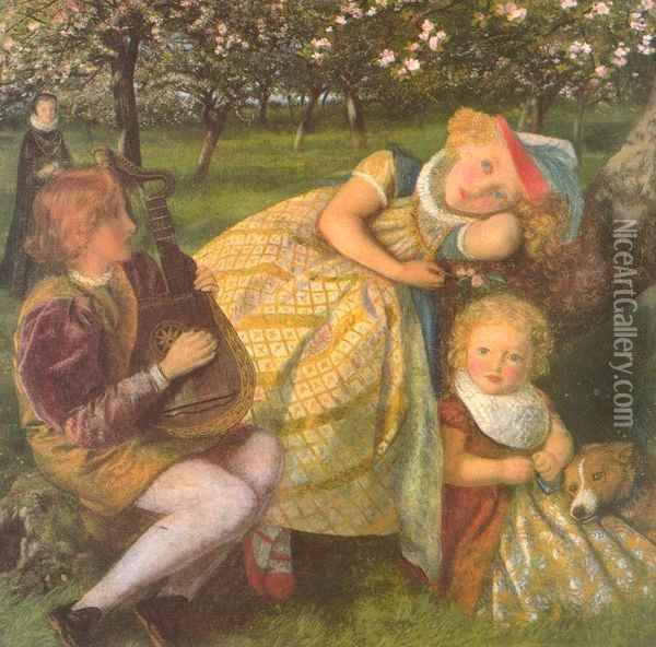 The King's Orchard (study) Oil Painting - Arthur Hughes