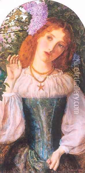 The Lady with the Lilacs 1862 Oil Painting - Arthur Hughes