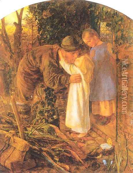 Home from Work 1860-61 Oil Painting - Arthur Hughes