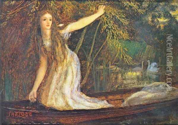 The Lady of Shalott II Oil Painting - Arthur Hughes