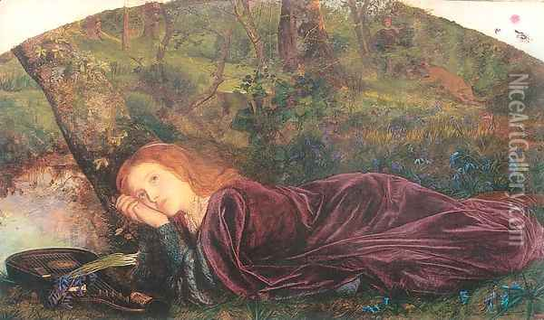 The Rift within the Lute 1861-62 Oil Painting - Arthur Hughes