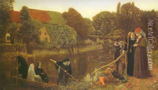 The Convent Boat Oil Painting - Arthur Hughes
