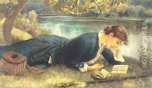 The Compleat Angler 1884 Oil Painting - Arthur Hughes