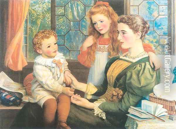 Mrs. Norman Hill and Children 1897 Oil Painting - Arthur Hughes