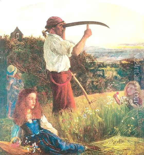 The Mower 1861-65 Oil Painting - Arthur Hughes
