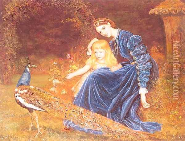 Mrs. Grant Duff and Adrian 1872-73 Oil Painting - Arthur Hughes