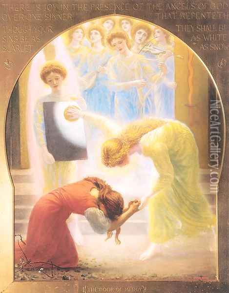 The Door of Mercy 1892-93 Oil Painting - Arthur Hughes