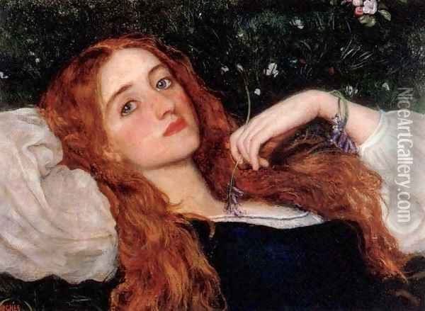 In the Grass (second version) Oil Painting - Arthur Hughes
