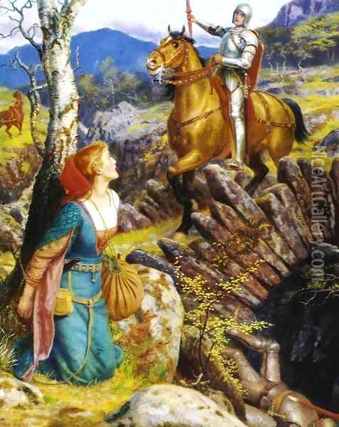 Overthrowing of the Rusty Knight Oil Painting - Arthur Hughes