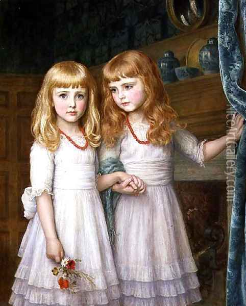 Marjorie and Lettice Wormald Oil Painting - Arthur Hughes