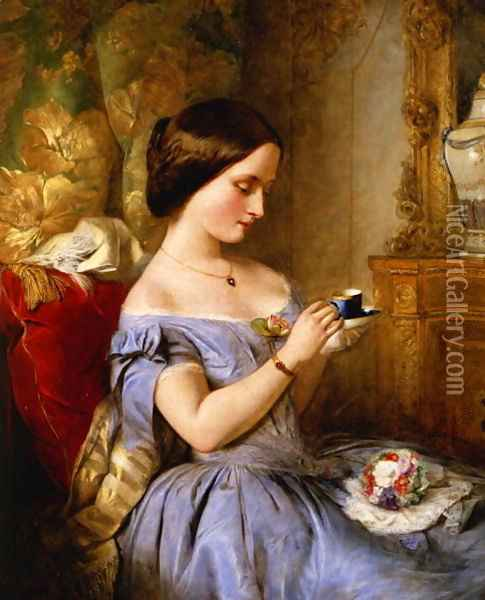 Taking Tea in the Drawing Room Oil Painting - Arthur Hughes