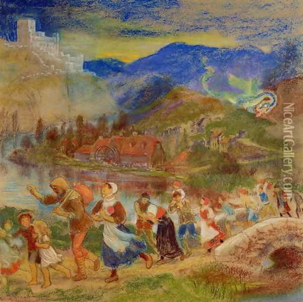 Villagers fleeing from a dragon Oil Painting - Arthur Hughes