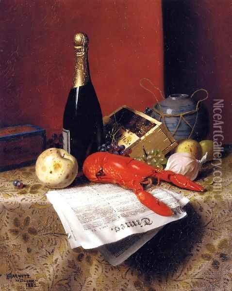 Still Life with Lobster, Fruit, Champagne and Newspaper Oil Painting - William Michael Harnett