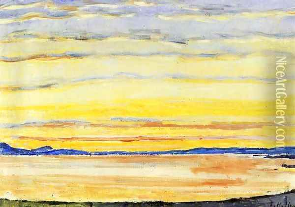 Sunset On Lake Geneva Oil Painting - Ferdinand Hodler