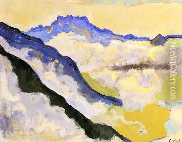 Dents Du Midi In Clouds Oil Painting - Ferdinand Hodler