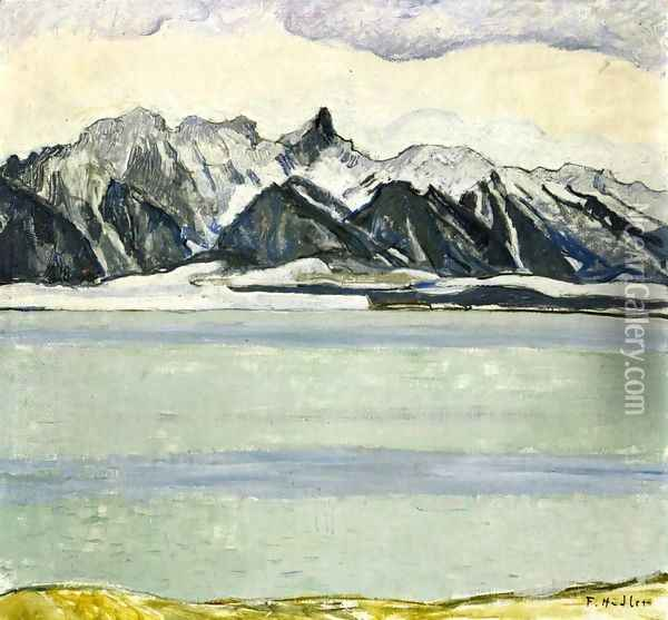 Thumersee with Stockhornkette in Winter Oil Painting - Ferdinand Hodler