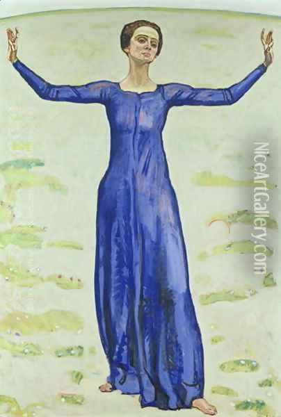 Song in the Distance 1914 Oil Painting - Ferdinand Hodler