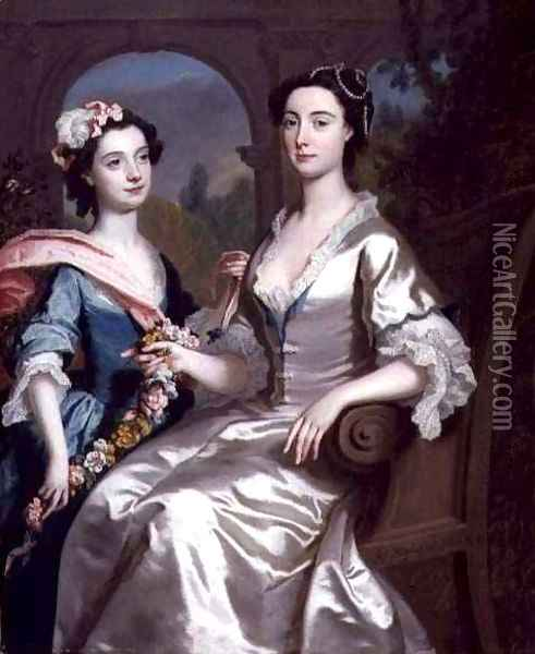 Mrs Elizabeth Birch and Her Daughter Oil Painting - Joseph Highmore