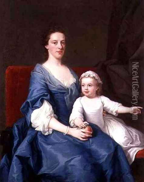 Study of a Mother and Her Daughter Oil Painting - Joseph Highmore