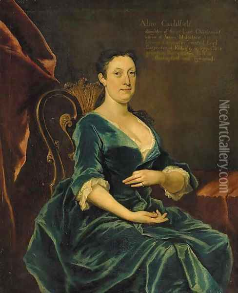 Portrait of Alice Caulfeild, daughter of William, 1st Viscount Charlemont, three-quarter-length, in a blue dress, seated in an interior Oil Painting - Joseph Highmore