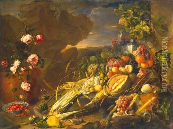 Fruit and a Vase of Flowers Oil Painting - Jan Davidsz. De Heem