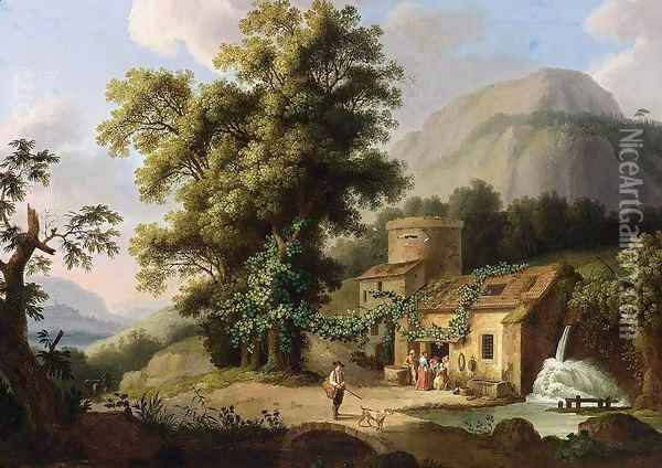 View of the Copper-Mill in Vietri c. 1773 Oil Painting - Jacob Philipp Hackert