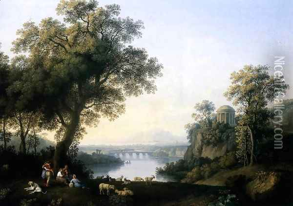Landscape with River 1778 Oil Painting - Jacob Philipp Hackert