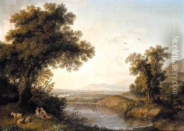 Italianate Landscape 1778 Oil Painting - Jacob Philipp Hackert